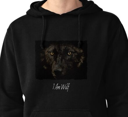 Midnights Gaze - Black Wolf Wild Animal Wildlife Pullover Hoodie