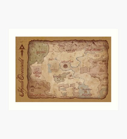 Hyrule Overworld Map - Legend of Zelda: A Link to the Past Art Print