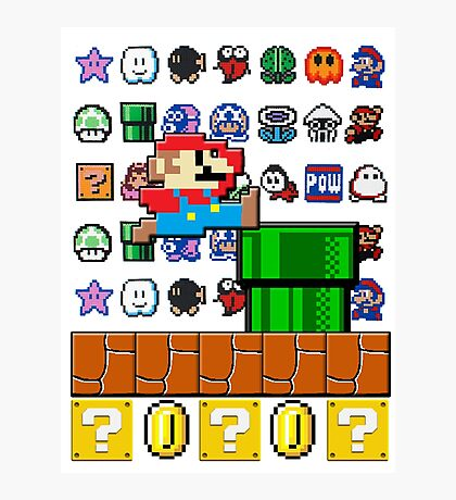NES Mario 8-Bit Nintendo Characters Ugly Sweater Design Photographic Print
