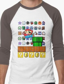 NES Mario 8-Bit Nintendo Characters Ugly Sweater Design Men's Baseball ¾ T-Shirt