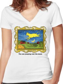 Goodnight Moon The Cow Jumping Over the Moon Women's Fitted V-Neck T-Shirt