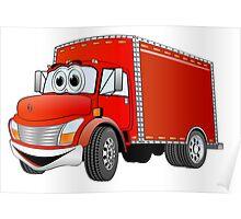 Box Truck Red Cartoon Poster