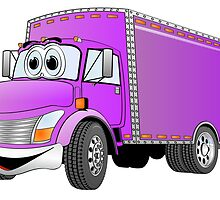 Box Truck Purple Cartoon by Graphxpro