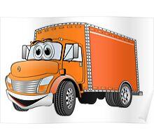 Box Truck Orange Cartoon Poster
