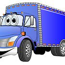 Box Truck Blue Cartoon by Graphxpro