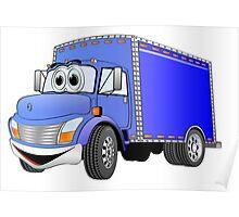 Box Truck Blue Cartoon Poster