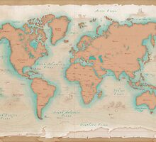 Vintage Style World Map by awkaffections