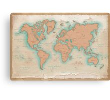 Vintage Style World Map Canvas Print
