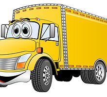 Box Truck Yellow Cartoon by Graphxpro