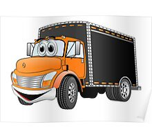 Box Truck Orange Black Cartoon Poster