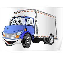 Box Truck Blue White Cartoon Poster