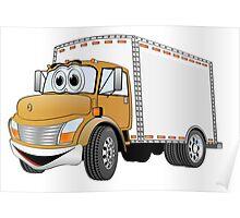 Box Truck Brown White Cartoon Poster