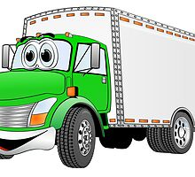 Box Truck Green White Cartoon by Graphxpro