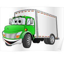 Box Truck Green White Cartoon Poster