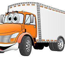 Box Truck Orange White Cartoon by Graphxpro