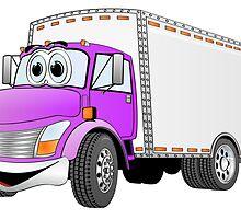 Box Truck Purple White Cartoon by Graphxpro