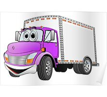Box Truck Purple White Cartoon Poster
