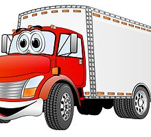 Box Truck Red White Cartoon by Graphxpro