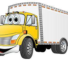 Box Truck Yellow White Cartoon by Graphxpro