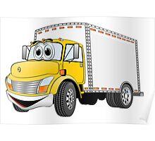 Box Truck Yellow White Cartoon Poster