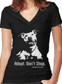 Adopt Dont Shop P4P apparel Women's Fitted V-Neck T-Shirt