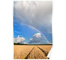 Rainbow over wheat field Poster