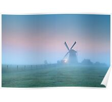 Windmill in the fog Poster