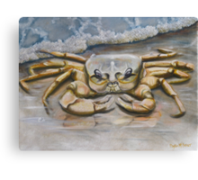 Ghost Crab In The Surf Canvas Print