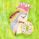 Hedgehog with Doughnuts by RagAragno