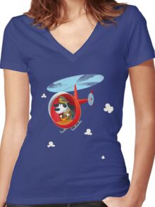 Helicopter dog Women's Fitted V-Neck T-Shirt
