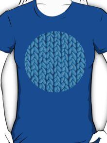 Blue knit sweater fabric pattern T-Shirt