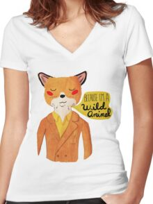 Because I'm A Wild Animal Women's Fitted V-Neck T-Shirt