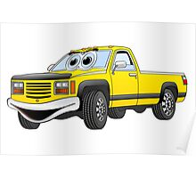 Yellow Pick Up Truck Cartoon Poster