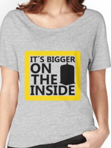 It´s Bigger On the Inside -Yellow Sign Women's Relaxed Fit T-Shirt