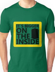 It´s Bigger On the Inside -Yellow Sign Unisex T-Shirt