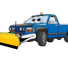 Blue Y Pick Up Truck Snow Plow Cartoon by Graphxpro