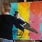 Painting for the public at the Cathedral Art show, North Adelaide by Cat Leonard