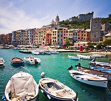 Pastel Harbour: Boats in Cinque Terre, Italy by Wax Museum Media