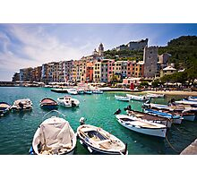 Pastel Harbour: Boats in Cinque Terre, Italy Photographic Print