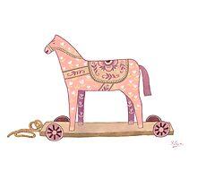 Pink Rocking Horse Photographic Print