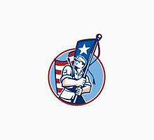 American Patriot Serviceman Soldier Flag Retro Unisex T-Shirt