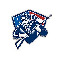 American Frontiersman Patriot Stars Stripes Flag by patrimonio