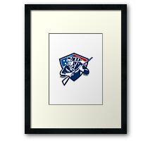 American Frontiersman Patriot Stars Stripes Flag Framed Print