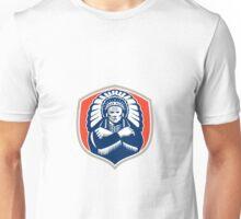 Native American Chief Warrior Headdress Retro Unisex T-Shirt