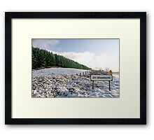 an ghaeltacht sign in irish snow covered scene Framed Print