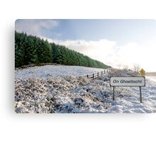 an ghaeltacht sign in irish snow covered scene Metal Print
