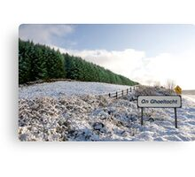 an ghaeltacht sign in irish snow covered scene Canvas Print