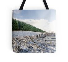 an ghaeltacht sign in irish snow covered scene Tote Bag