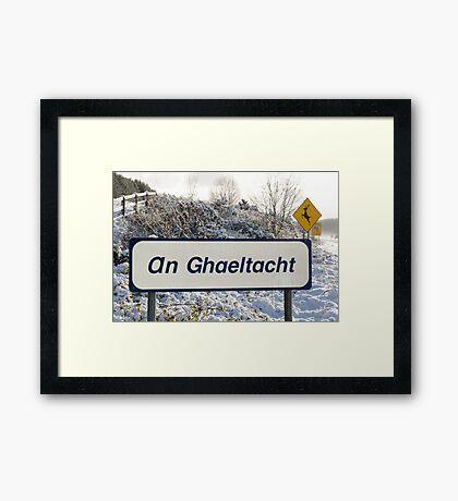 an ghaeltacht sign in snow scene Framed Print