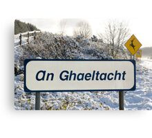an ghaeltacht sign in snow scene Canvas Print